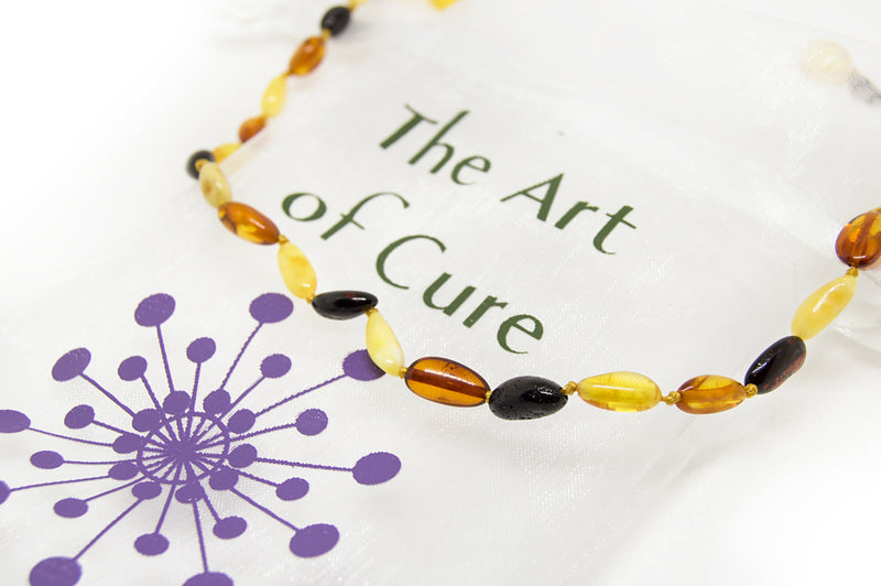 (12.5in) Certified Baltic Amber Teething Necklace for Baby - MultiColor Bean