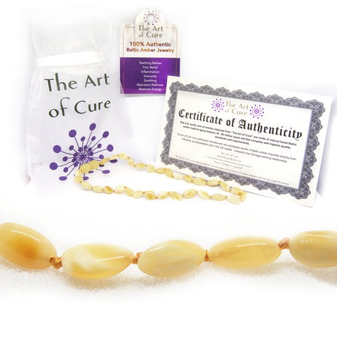 The Art of Cure Original Baltic Amber Necklace- Polished Handmade (Butter Bean) for boy or girl – 12 - 12.5 Inches size