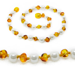 (12.5in) Semi-Precious & Certified Baltic Amber Teething Necklace for Baby - Lemon/Mother of Pearl