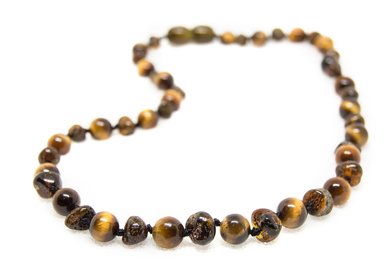 FLASH SALE (12.5in) Semi-Precious & Certified Baltic Amber Teething Necklace for Baby - Green/Tigers Eye