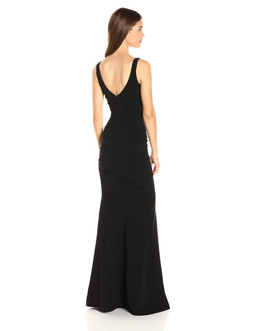Nicole Miller Women's Plunge Structured Heavy Jersey Gown