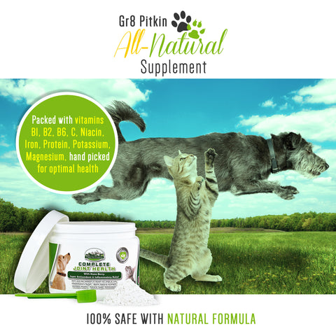 All-Natural Joint & Hip Supplement for Dogs & Cats Glucosamine, Chondroitin, MSM, Caco3 with 74 Minerals, Kona Berry Pain Relief For Your Pets Joints Hips Made At USA FDA Inspected Facility (1 pc)