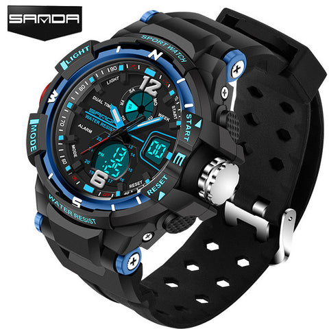 Rugged Mens Sports Watch Digital Analog Time Quartz  Waterproof Stopwatch by Sanda