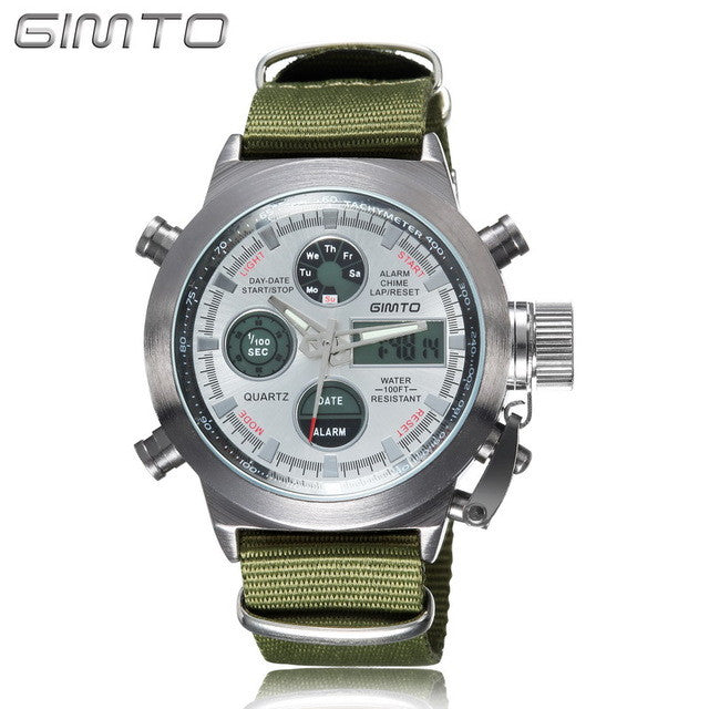 Quartz Digital Sports Watches Men Leather Nylon LED Waterproof Diving Wristwatch Men's Watch