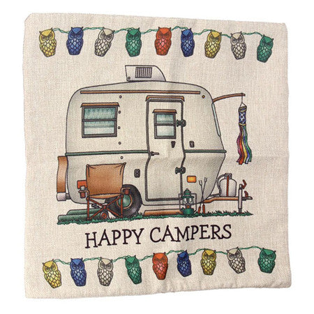 Happy Campers RV Camping Pillows Cases for Trailer, Class A , Fifth wheel, Teardrop Pillow Air Stream pillow cases