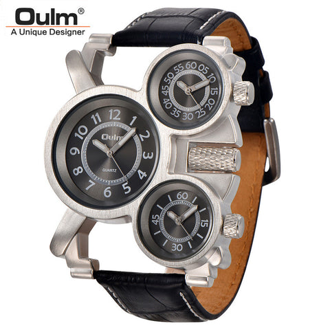Mens Watches Military Quartz Watch Unique 3 Small Dials Leather Strap