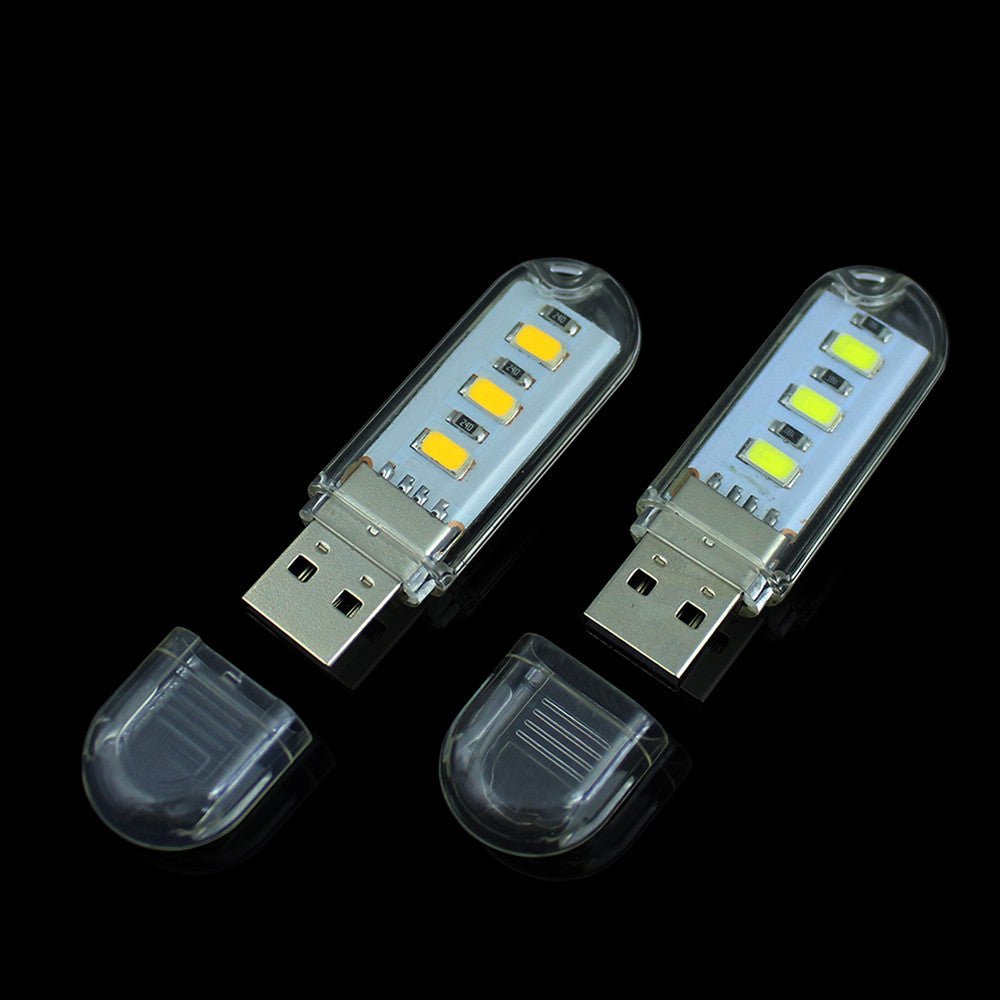 1Pcs New Mini 3 LEDs 5730 SMD LED USB  lamp Book lights Camping Bulb Nightlight For PC Laptops Notebook Reading Night light