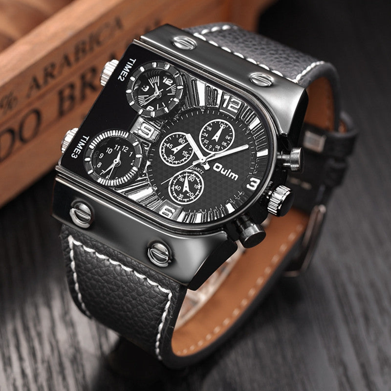 Oulm Men's Watches Mens Quartz Casual Leather Strap Wristwatch Sports Man Multi-Time Zone Military Male Watch Clock relogios
