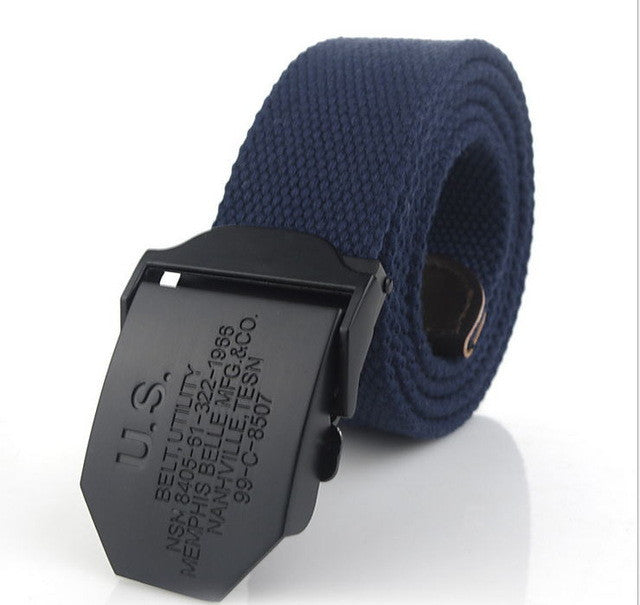 Canvas Web Belt Military Style with Black Alloy Buckle Heavy Duty Tactical Belt Free Shipping