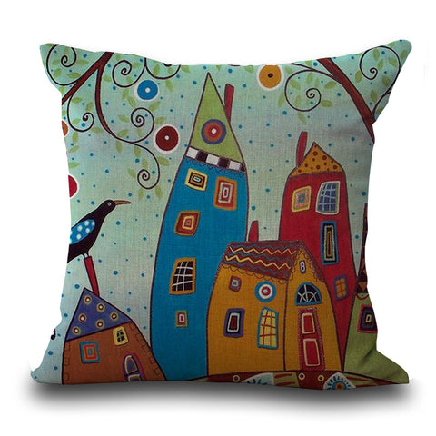 Linen Pillow Cover Vintage European Building  Pattern Cushion Cover  Pillow Case 17.75 in x 17.75 in