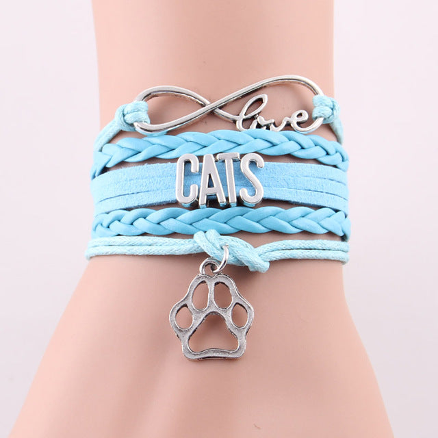 Love CATS Bracelet Cat Leather Wrap