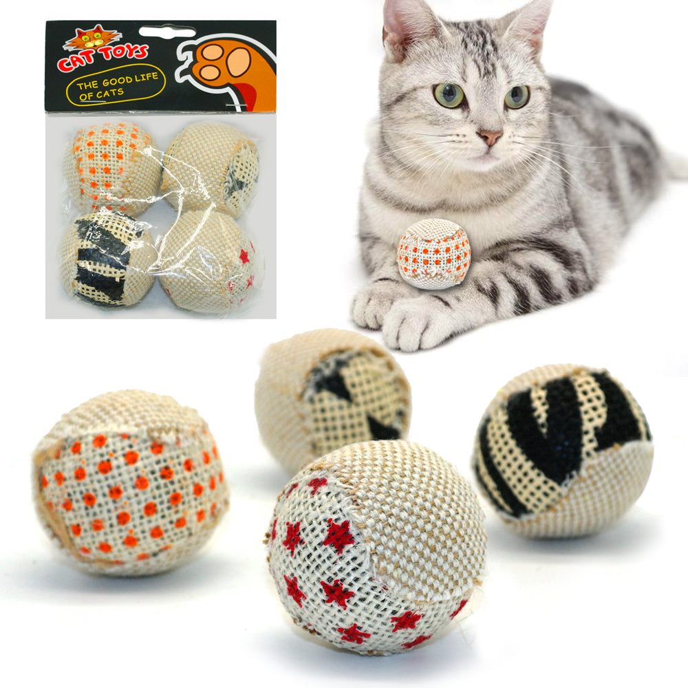 4pcs/pack Ball Cat Toy Chewing Rattle Scratch Catch Exercise Toy Balls