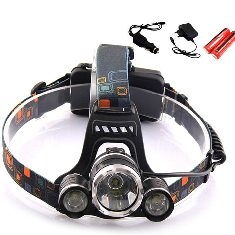 LED Headlight 5000Lm Headlamp Flashlight Cree T6 With 18650 Battery/Ac Car Charger Fishing Light