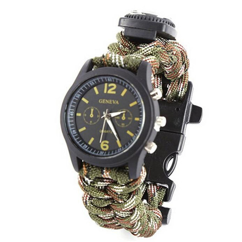 wrist watch Survival Bracelet With Watch Compass Flint Fire Starter Scraper Whistle Gear