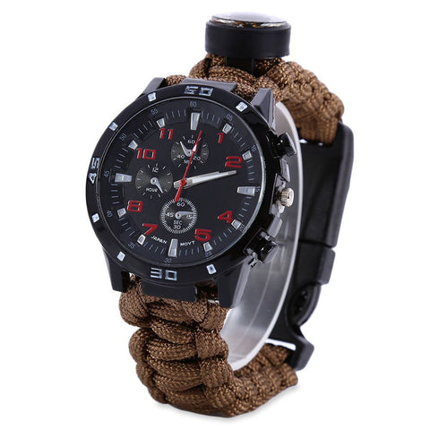 Outdoor Survival Watch Bracelet with Compass Flint Fire Starter Paracord Thermometer Whistle Multifunction Camping Band