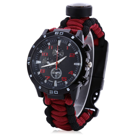 Multifuctional Compass Bracelet Survival Watch 13 Colors Thermometer Fire Starter Scraper Whistle Gear Bangle Parachute Cord
