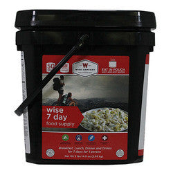 Ultimate Emergency Kit 7 Day Food Supply Bucket Camping Pouches from Wise Foods