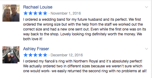 Facebook Customer Reviews Northern Royal Wedding Bands