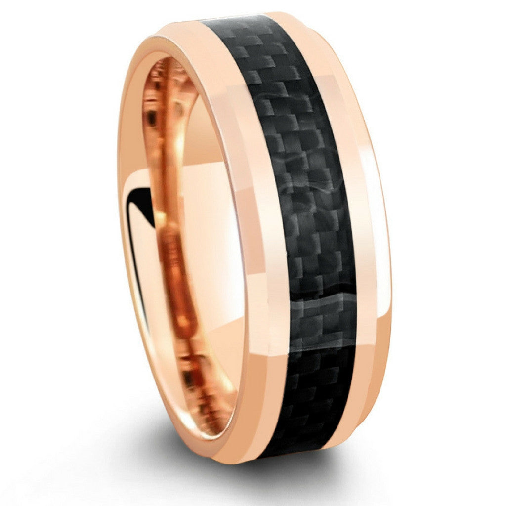18k rose gold wedding ring with black carbon fiber inlay - Carbon Fiber Wedding Ring