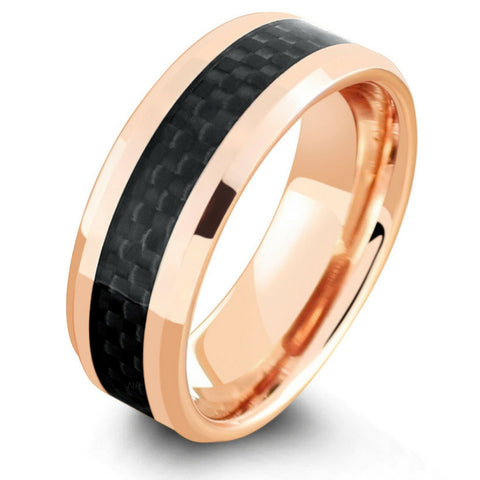 18K Rose Gold Wedding Ring With Black Carbon Fiber Inlay
