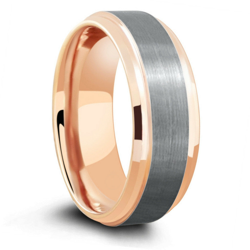 18k Rose Gold Tungsten Ring With Silver Brushed Center: Beveled Edge Matte Wedding Ring At Reisefeber.org