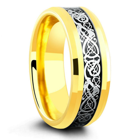 18K Yellow Gold Celtic Ring Crafted Out Of Tungsten Carbide