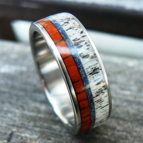 wood deer antler wedding band made with crushed stone
