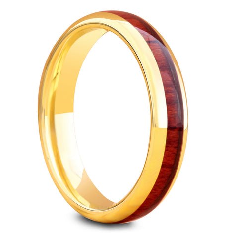 Womens yellow gold woode nring