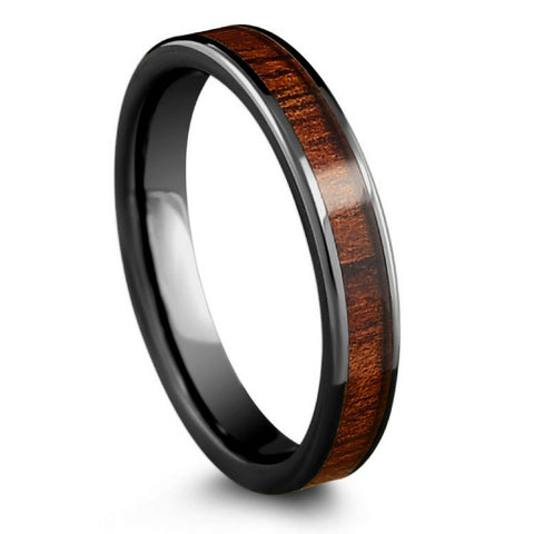 4mm High Tech Ceramic Koa Wedding Band With Flat Design