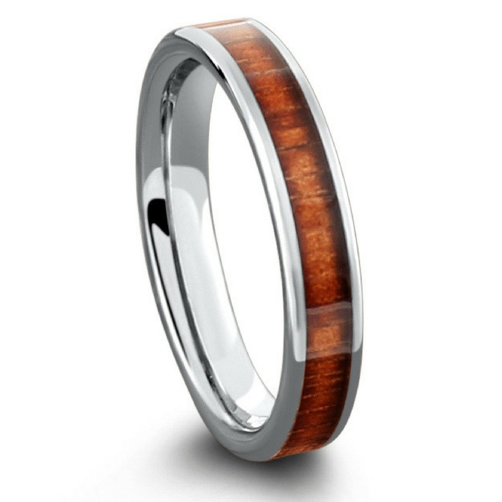 4mm tungsten wood wedding band with flat profile design - Mens Wooden Wedding Rings