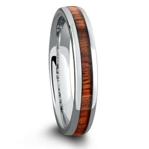 4mm Tungsten Wood Wedding Band - Oval Profile