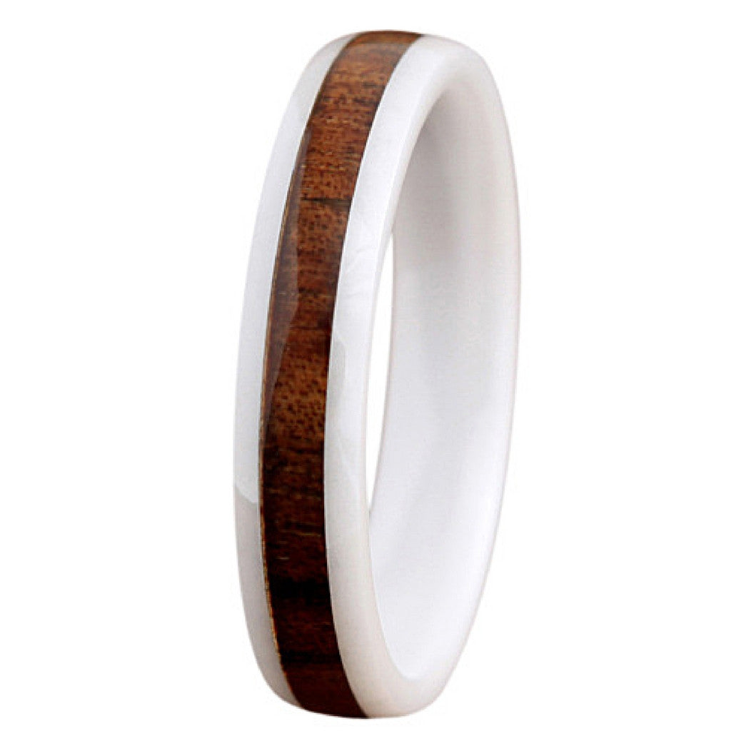 4mm White High Tech Ceramic Wedding Band With Real Koa Wood
