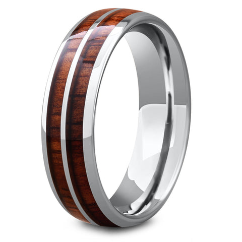 Men's Silver Wooden Barrel Ring
