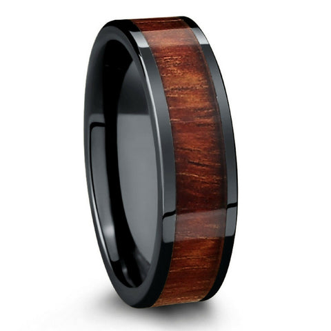 Wood Wedding Band Crafted With Black High Tech Ceramic & Koa Wood - 6mm