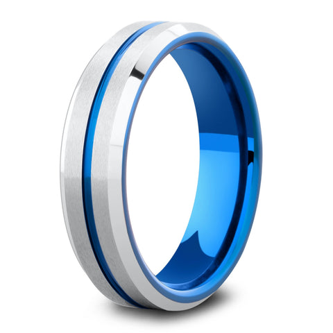 Men's Blue and Silver Wedding Ring