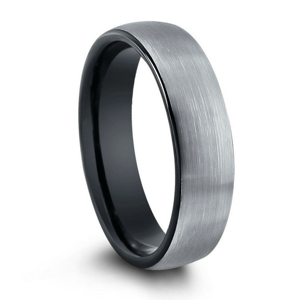 brushed tungsten wedding band with black inside - 8mm or 6mm