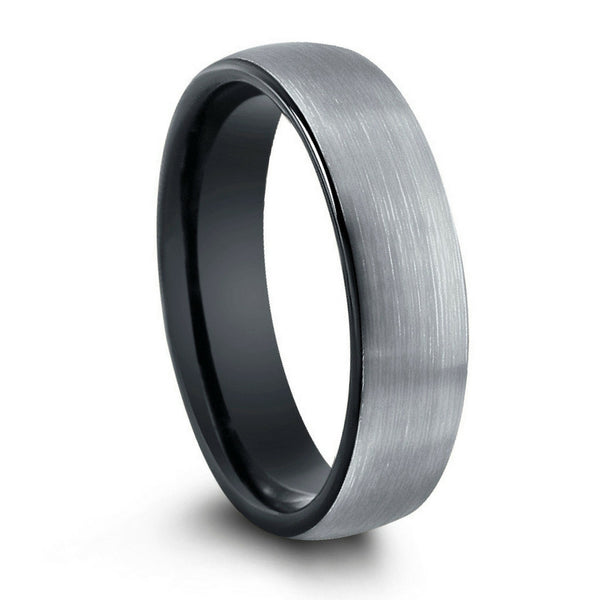 6mm Brushed Tungsten Ring With Black Interior Northern Royal Llc