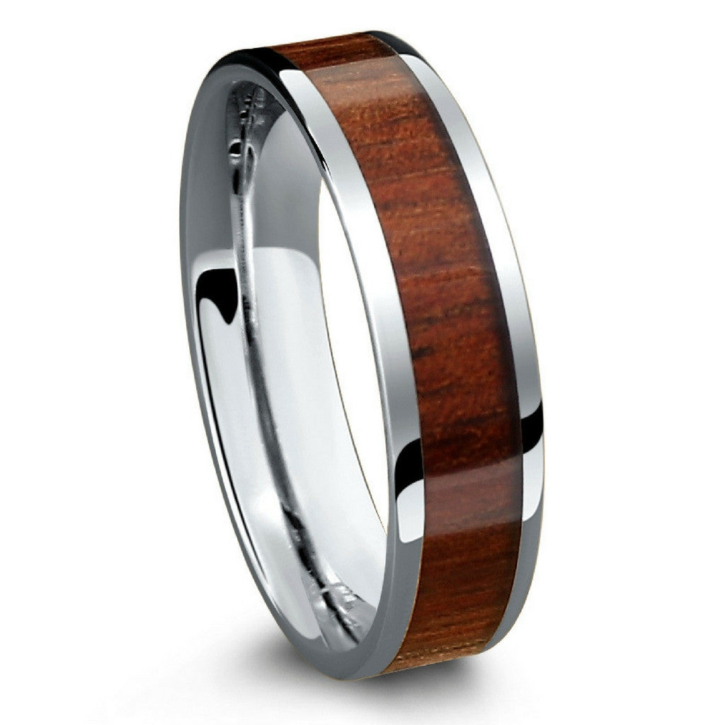 wedding ring man koa ring with a flat design crafted out of tungsten and 9965