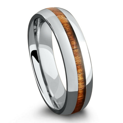 6mm Polished Titanium Koa Wood Wedding Band
