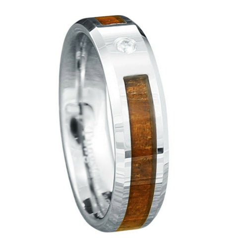 6mm Tungsten Wood Ring Crafted With CZ Diamond