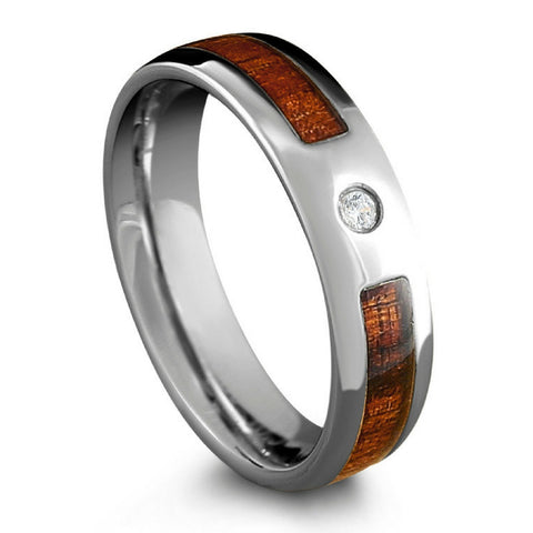 6mm Tungsten Wood Ring With CZ Diamond & Oval Profile Design