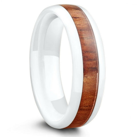 6mm White Ceramic Wood Wedding Band With Oval Design