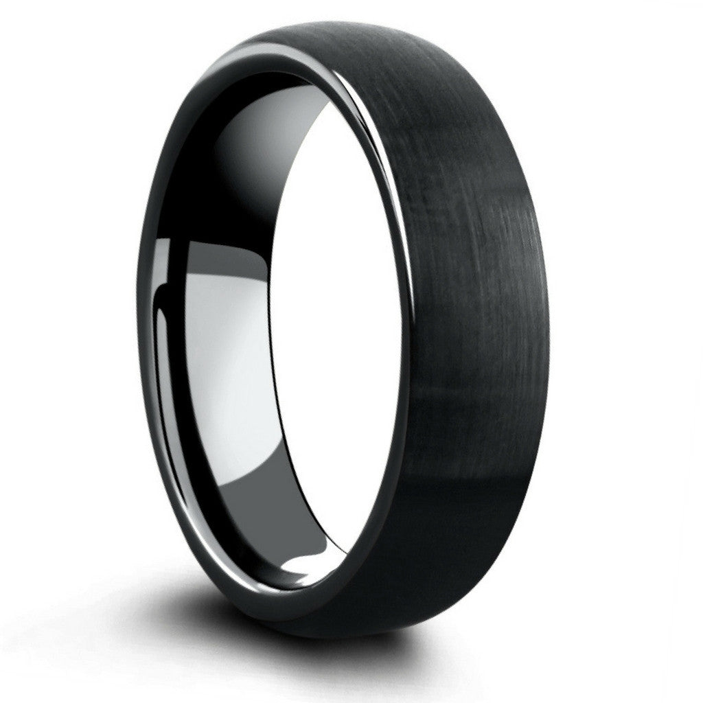 6mm All Black Brushed Tungsten Wedding Ring: Black Metal Wedding Bands At Reisefeber.org
