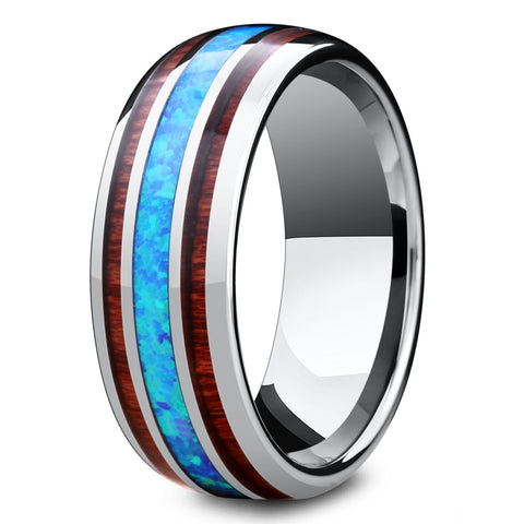 Koa Wood Opal Barrel Ring For Men 8mm Width