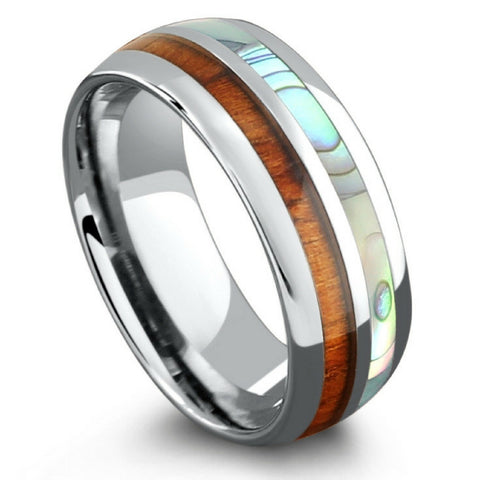 8mm Handcrafted Koa Wood Ring with Half Abalone and Crafted Out of Tungsten