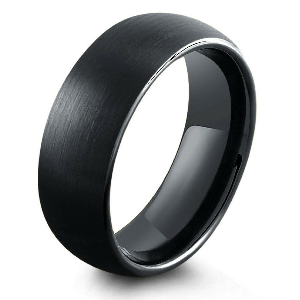 all black wedding rings 8mm all black brushed tungsten wedding band northernroyal 1262