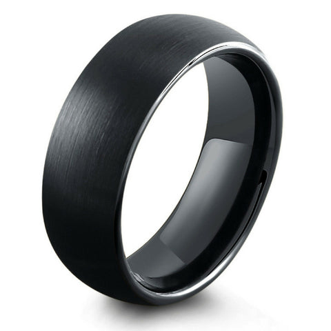 8mm All Black Brushed Tungsten Wedding Band