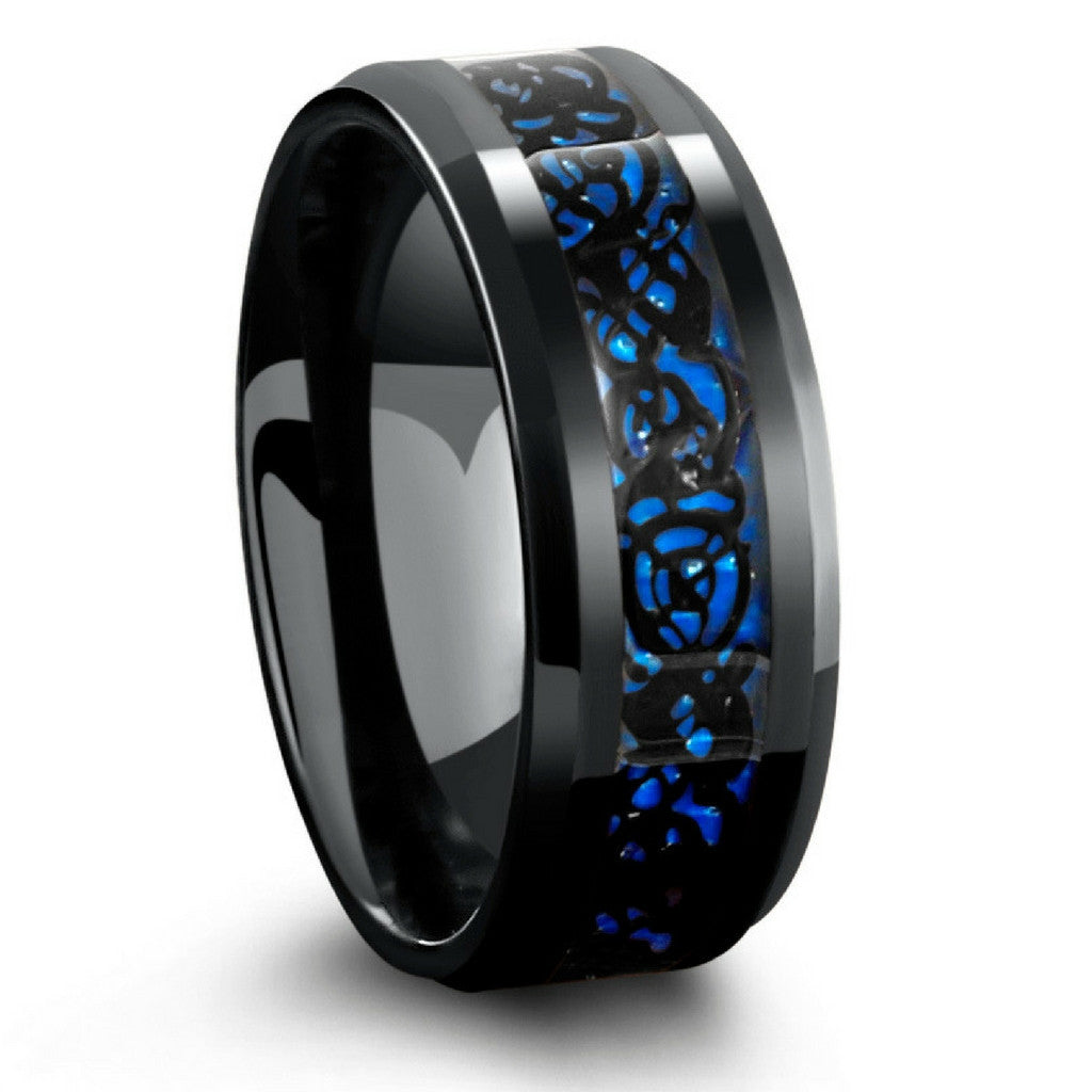 Superior 8mm Black Celtic Tungsten Wedding Band With Blue Carbon Fiber Inlay Amazing Pictures
