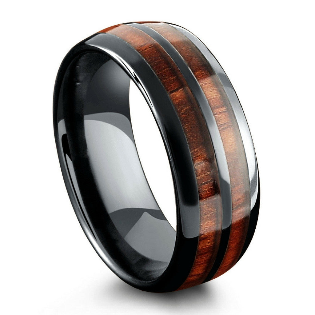 the barrel ceramic koa wood wedding ring mens wood wedding ring - Black Mens Wedding Ring