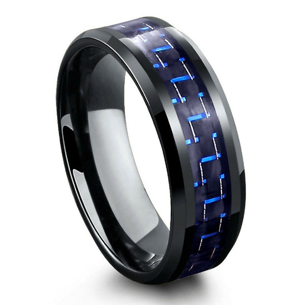 Black Tungsten Carbide Ring With Blue Amp Black Carbon Fiber